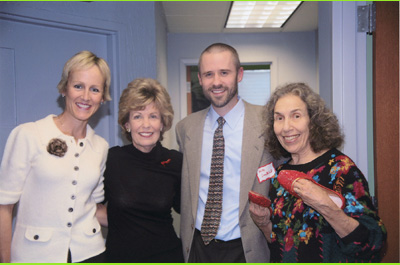 Pictured from Left to Right: Susan Miller, Turning Point Founding Board Member; Merry Prostic, MetaCancer Board Member; Michael Lundblad, MetaCancer President; Rita Blitt, Artist